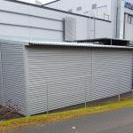 Lastauslaiturin jatkeeksi rakennettu tilapäisvarasto Jyväskylässä Palokan Kotikeskuksessa.